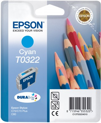Original Epson T0322 Cyan Ink Cartridge