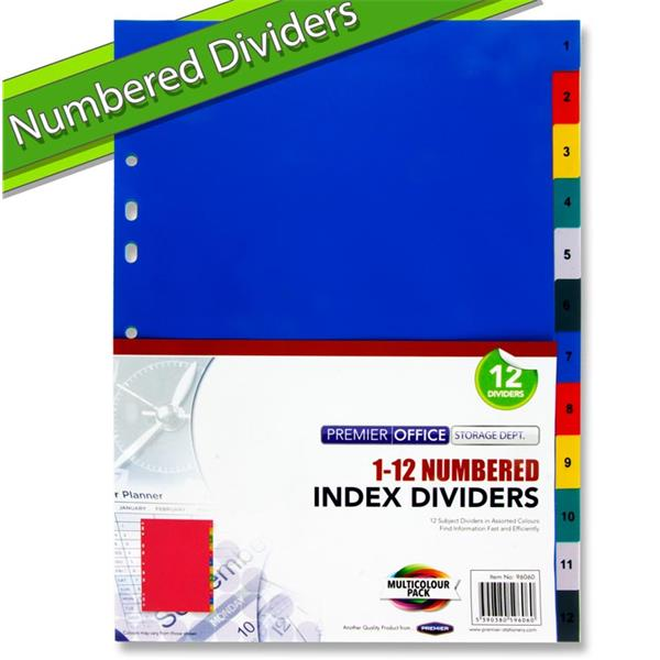 Premier Office A4 1-12 Numbered Subject Dividers