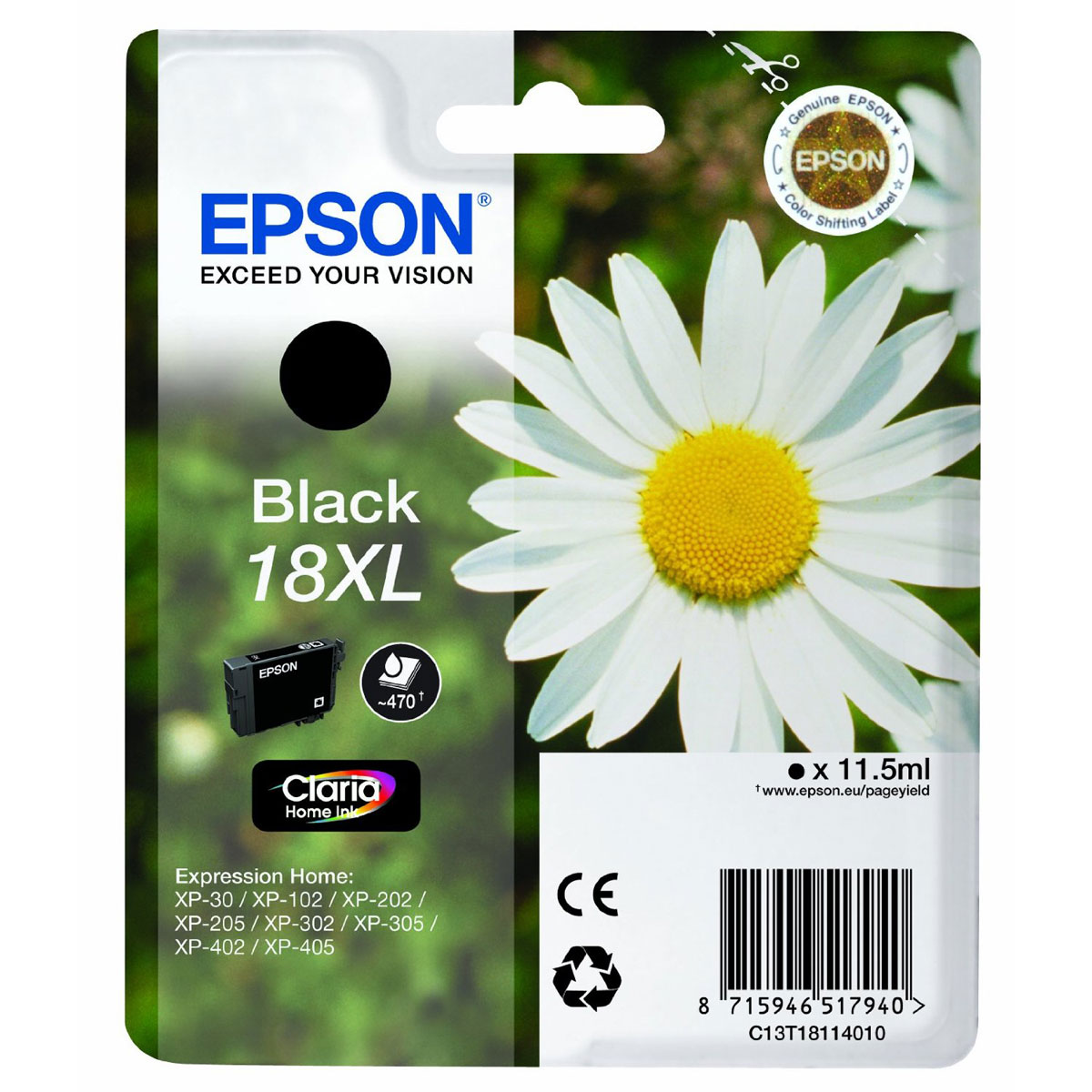 Epson T1811 Black Ink Cartridge High-Cap Original
