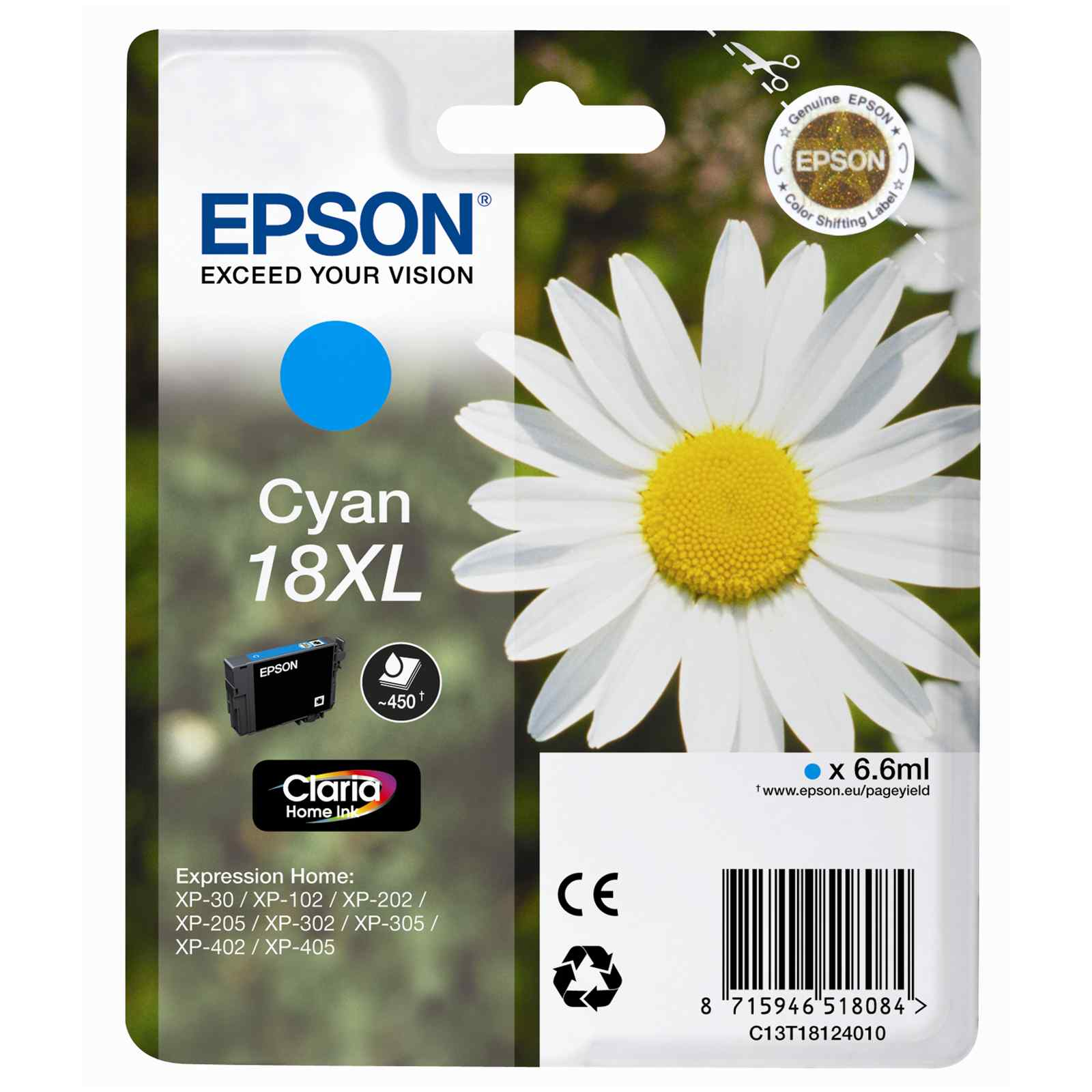 Epson T1812 Cyan Ink Cartridge High-Cap Original