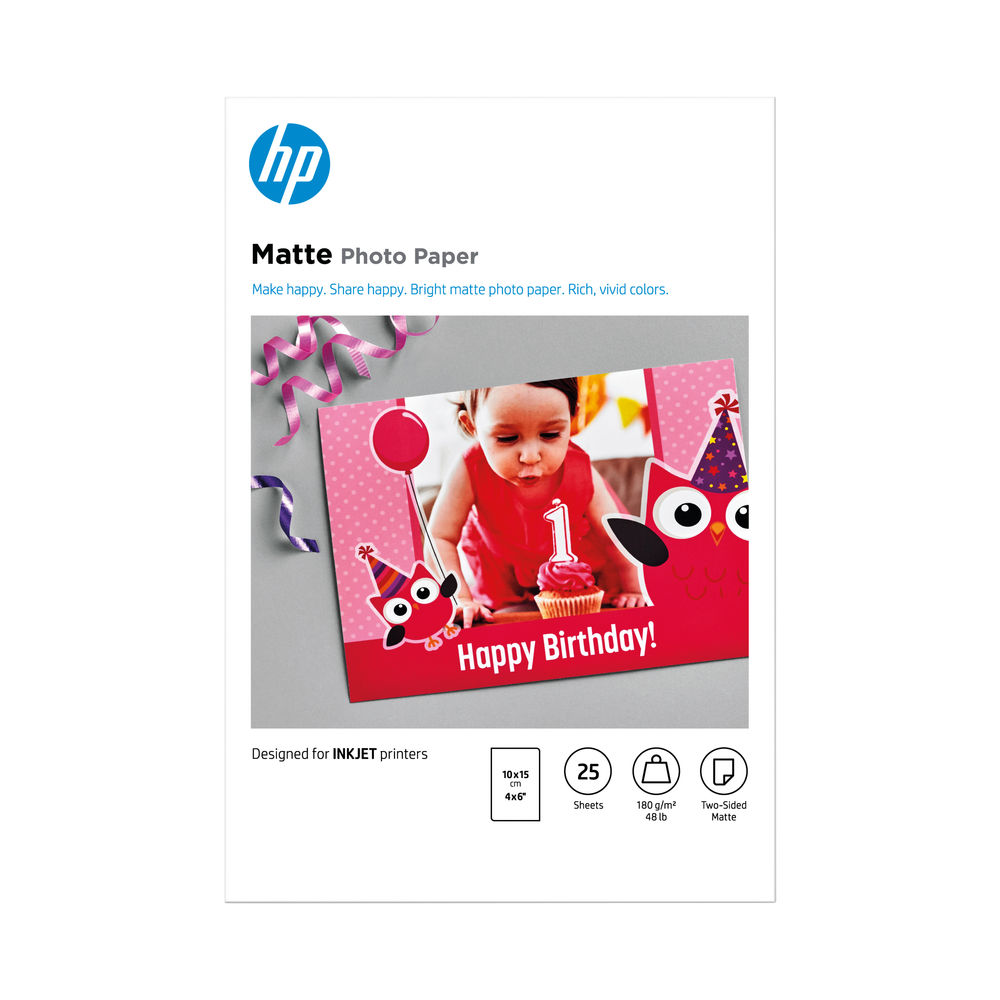 HP Matte Photo Paper 4x6 Inch Pack of 25