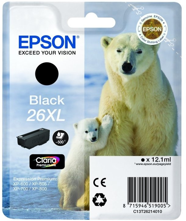 Epson 26XL T2621 high-cap black ink cartridge original