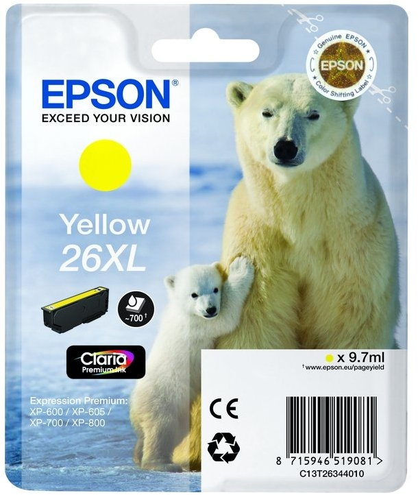 Epson 26XL T2634 high-cap yellow ink cartridge original
