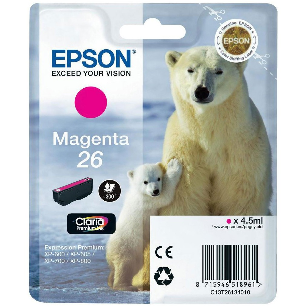 Epson 26 magenta ink cartridge ORIGINAL - Epson T2613 Original