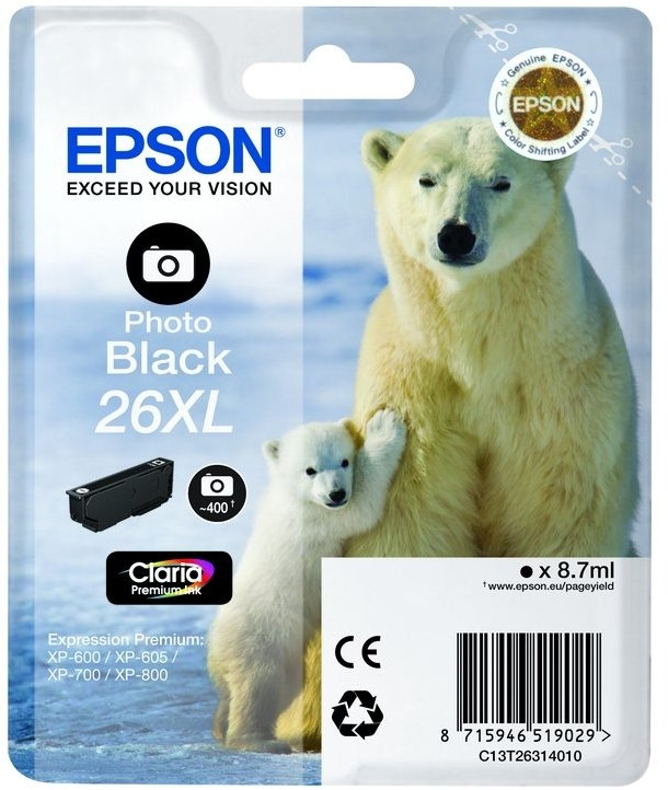 Epson 26XL T2631 high-cap photo black ink cartridge original