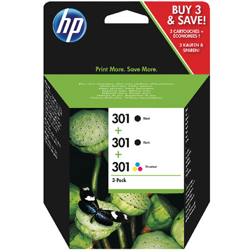 HP 301 Original Ink Cartridge Black And Colour 3 Pieces