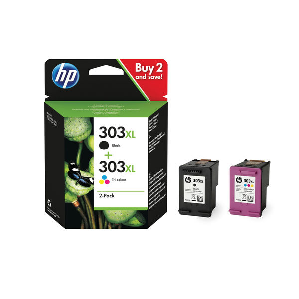 HP 303XL High Yield 2 Pack Tri-colour Black Original Ink Cartridge