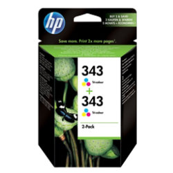 Hp 343 Tri Colour Ink Cartridge Original Twin Pack
