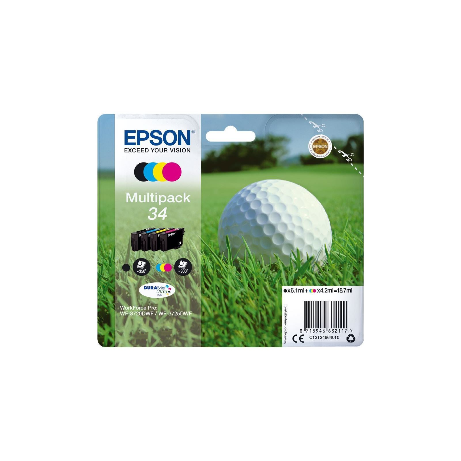 Epson Singlepack 4 Colour 34 DURABrite Ultra Ink