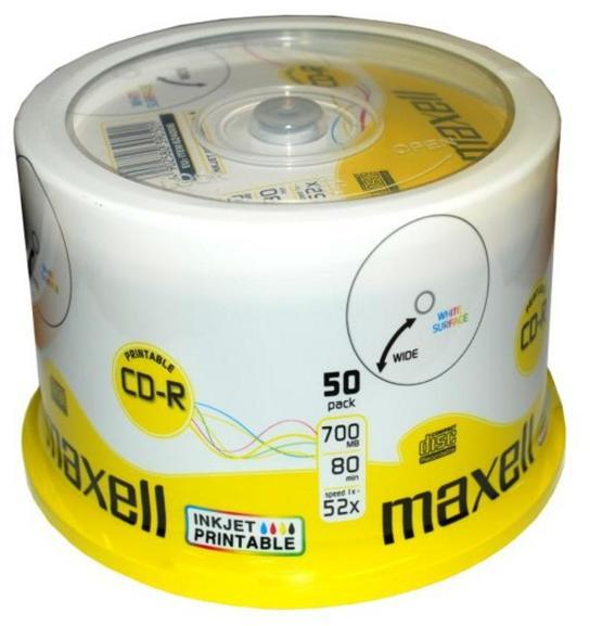 Maxell CD 50 Pack Minus R Printable White printable