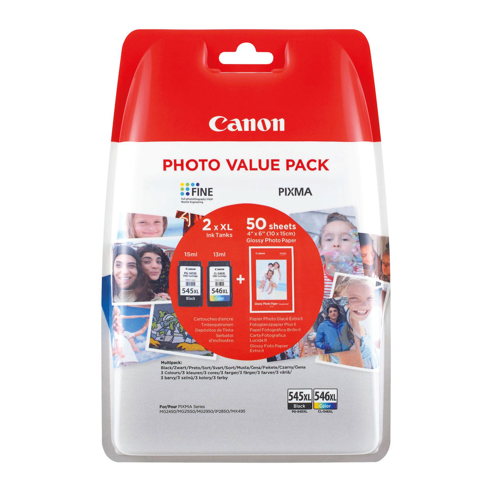 Canon PG-545XL CL-546XL Twin Pack Cartridges Pack of 2