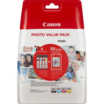 Canon CLI-581 BKCMY Ink Cartridge Photo Paper Value Pack