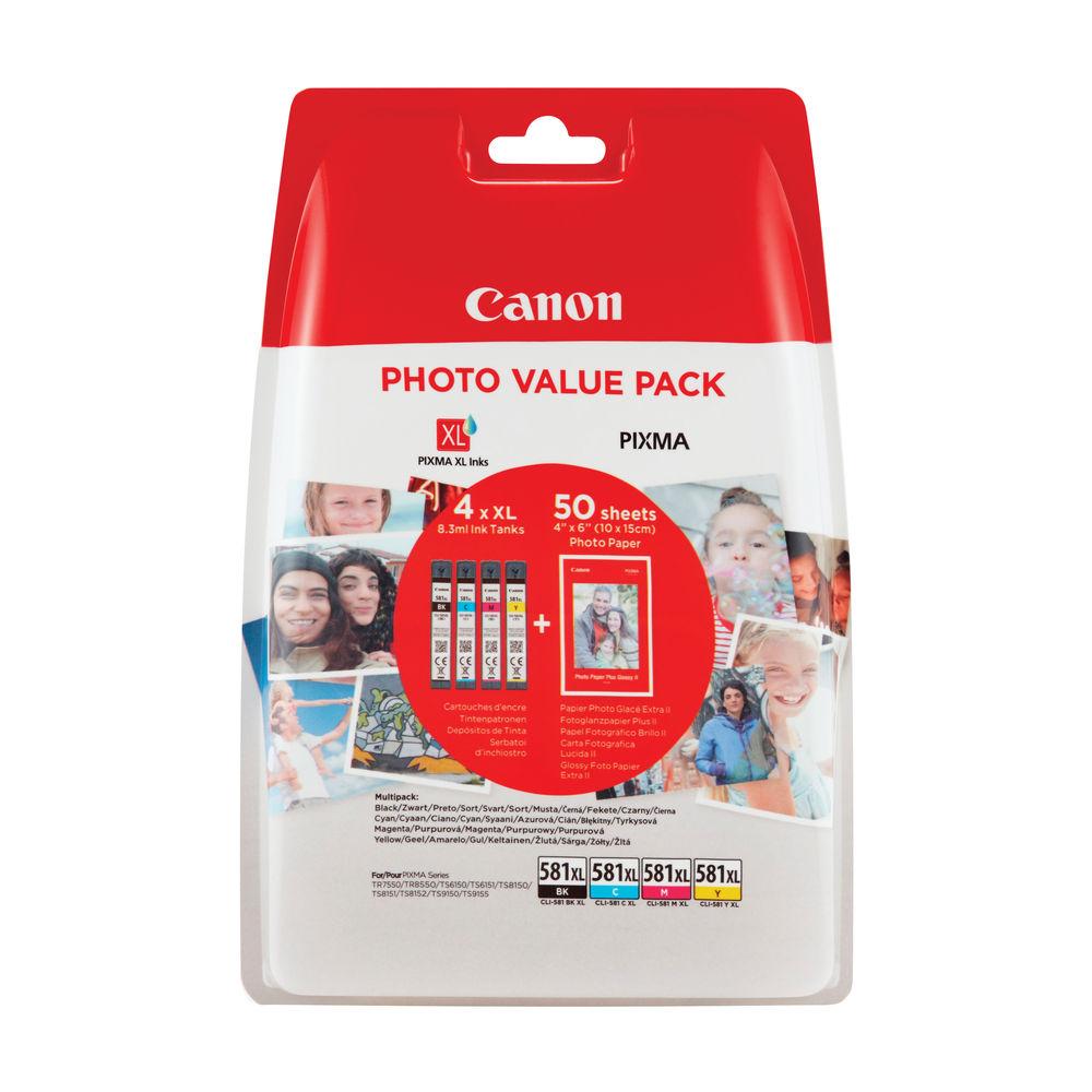 Canon CLI-581Xl CMYK Photo Cartridges 4 Pack