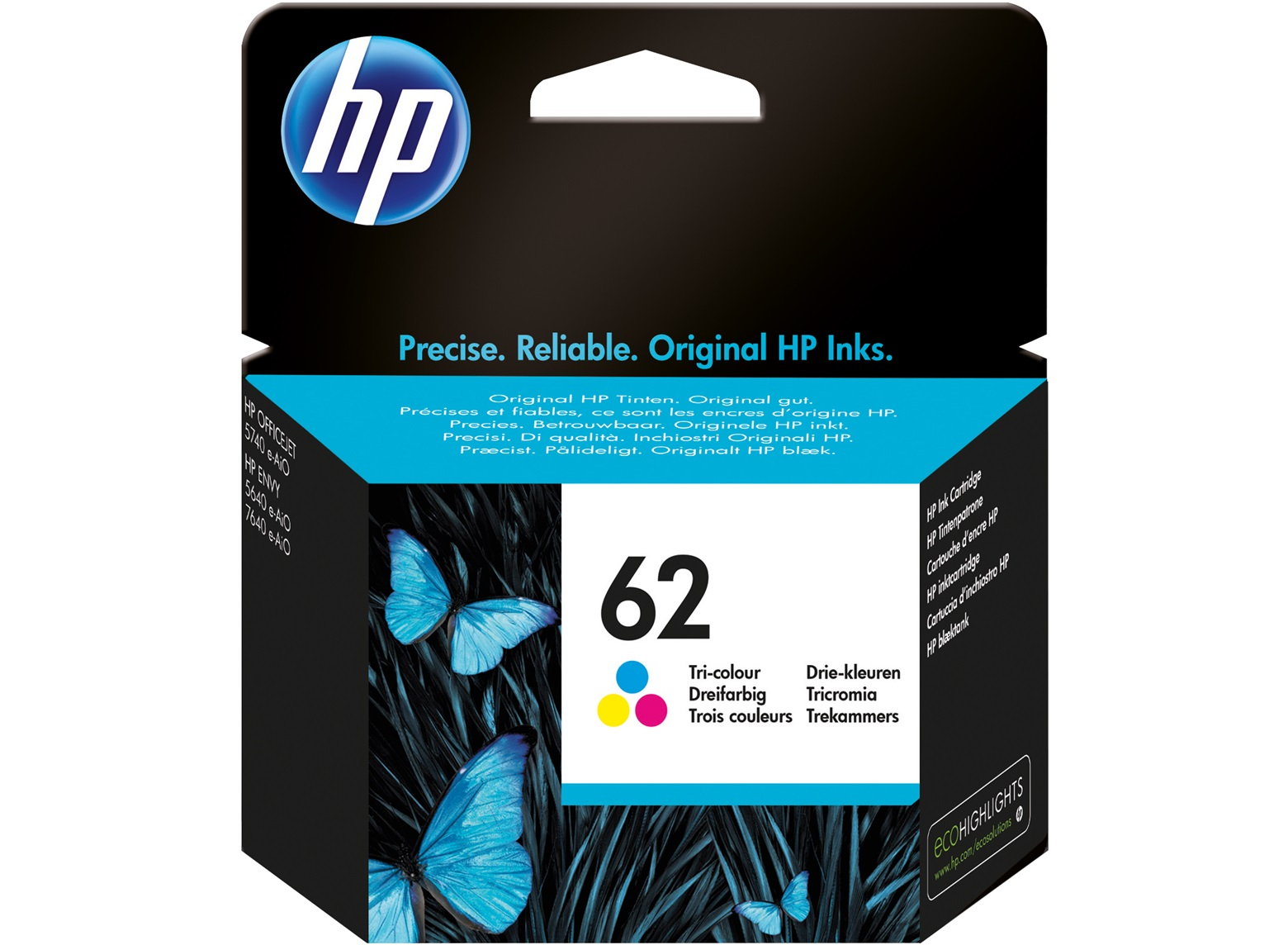 HP 62 colour ink cartridge original C2P06A