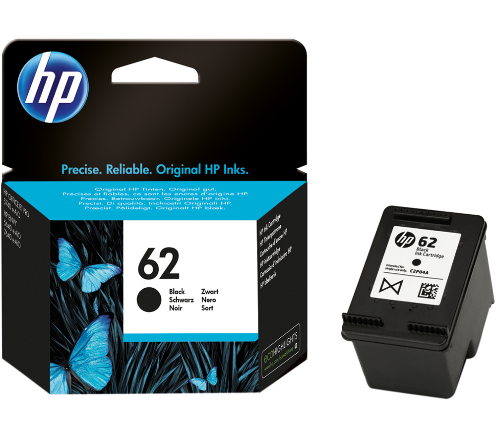 HP 62 black ink cartridge original C2P04A