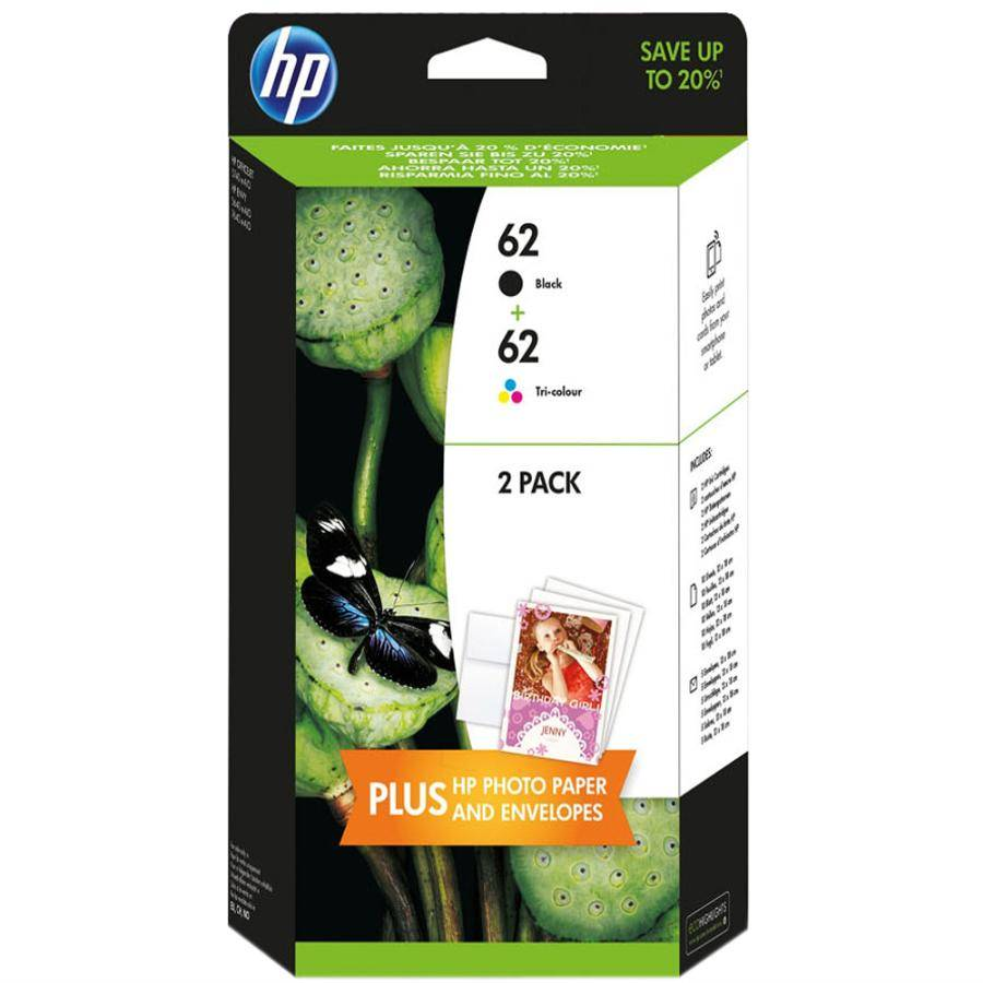 Hp 62 Black And Colour Twin Pack original
