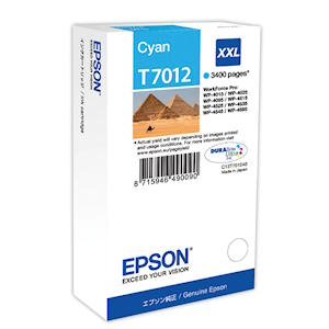 Epson T7012 Cyan Ink Cartridge Original XXL 3400 Page Yield