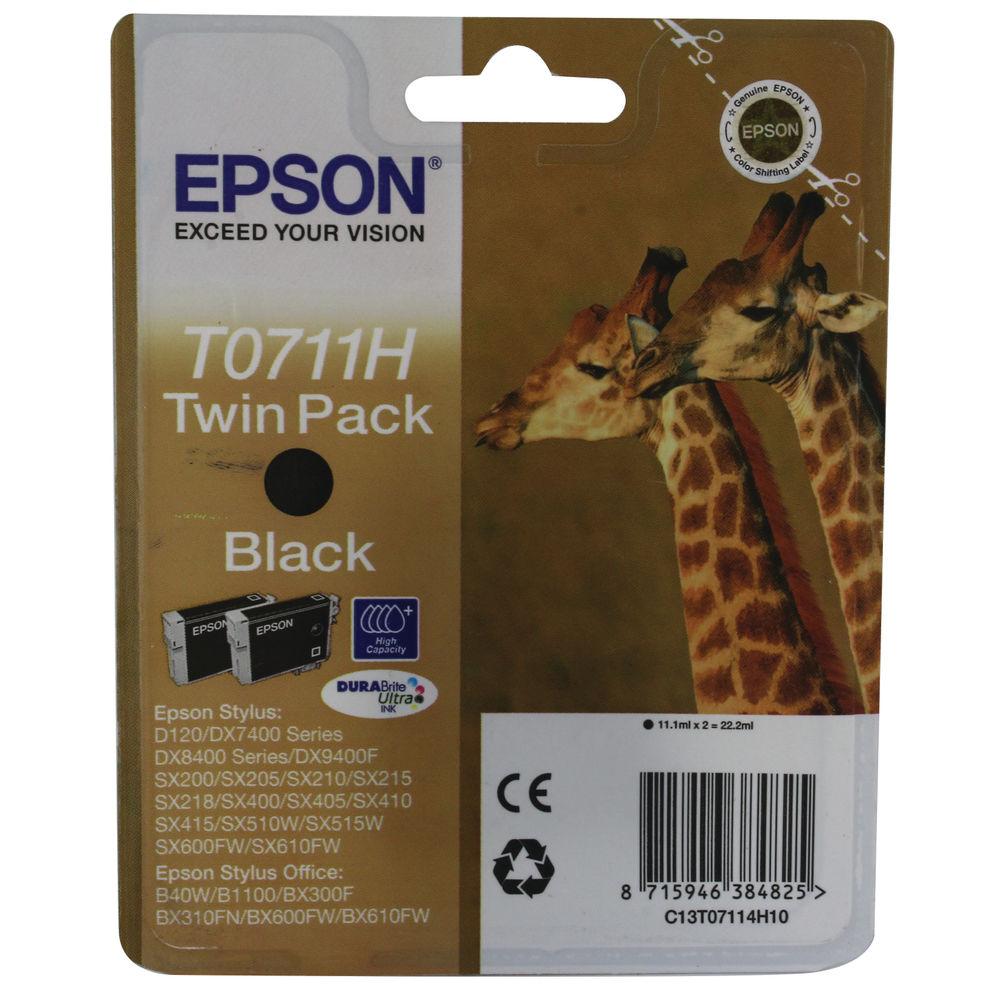 Epson T0711H High Yield Black Inkjet Cartridge Pack Of 2