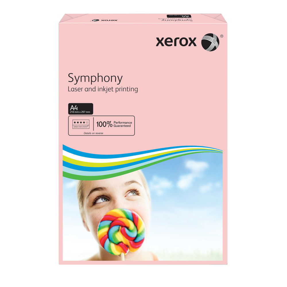 Xerox Symphony Pastel Tints Pink Ream A4 Paper 80gm