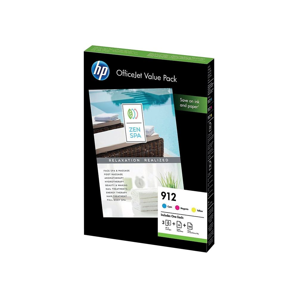 HP 912 CMY Ink and A4 Paper Office Value Pack