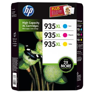 Hp 935xl Cyan Magenta Yellow 3 Pack Plus Paper