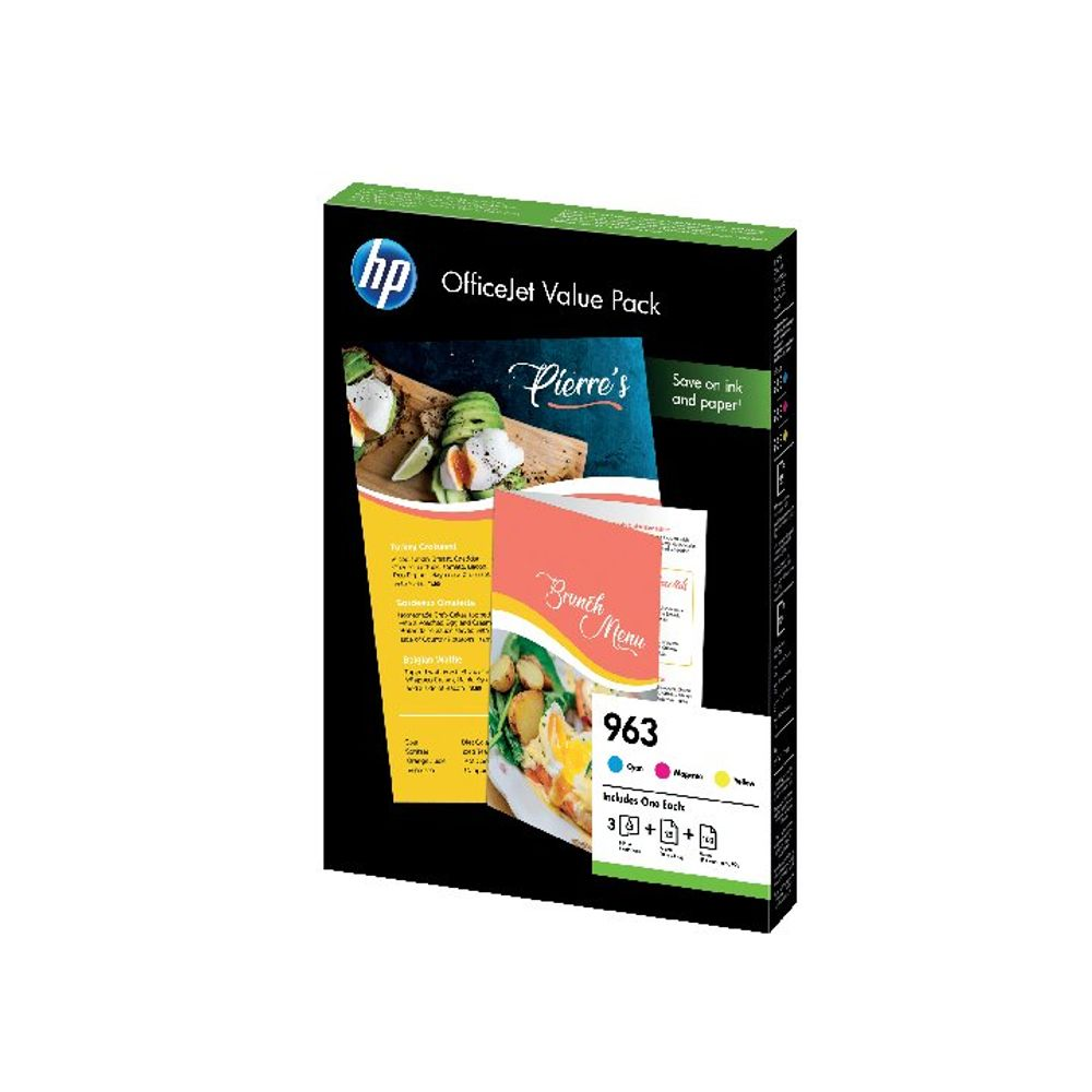 HP 963 Cyan Magenta Yellow Ink Cartridge Plus Paper