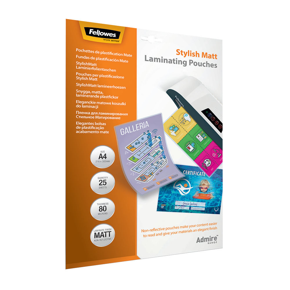 Fellowes Admire A4 Laminating Pouches Matte Pack of 25