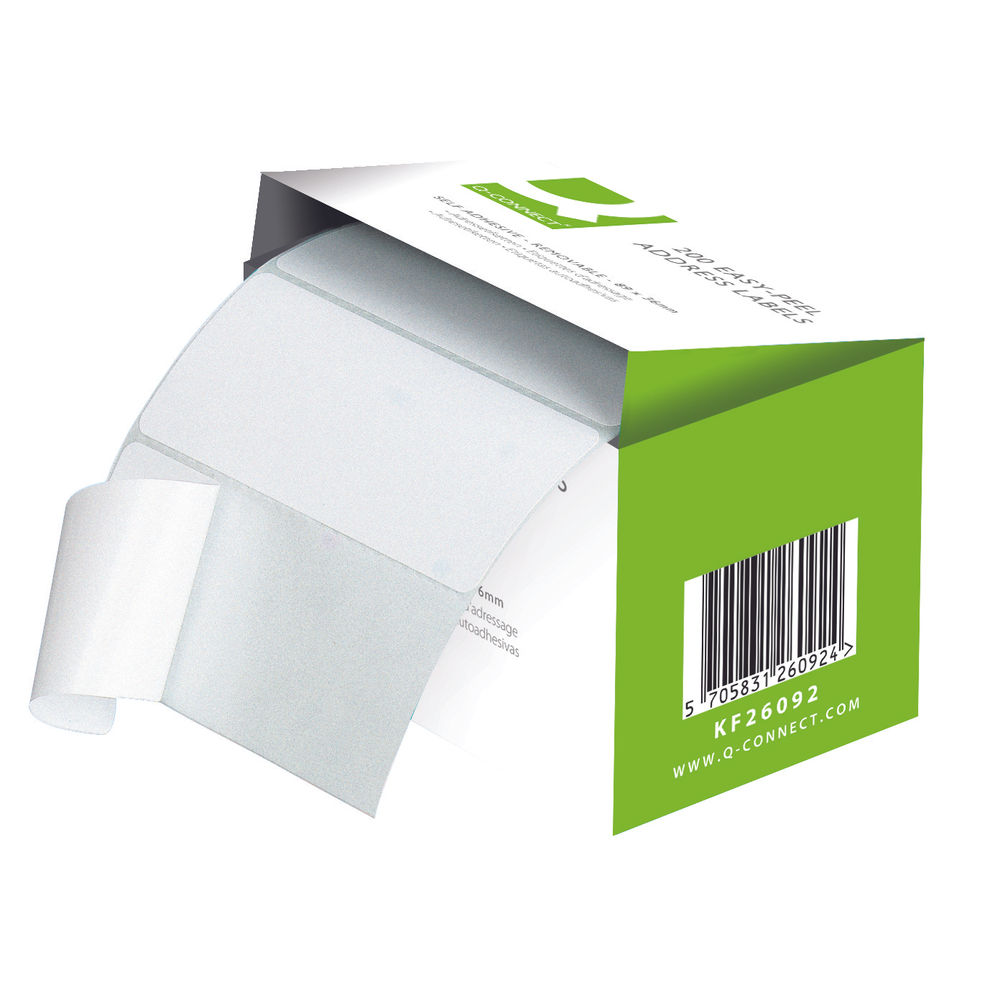Roll Self Adhesive 89mmx36mm White Pack of 200