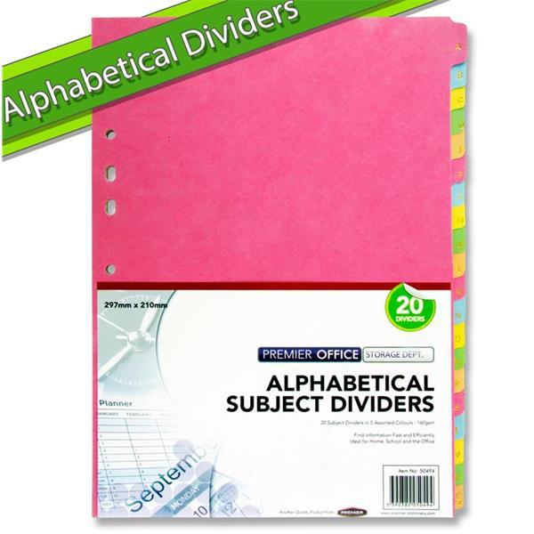 Premier Office 160gsm A-z Subject Dividers 20 Part