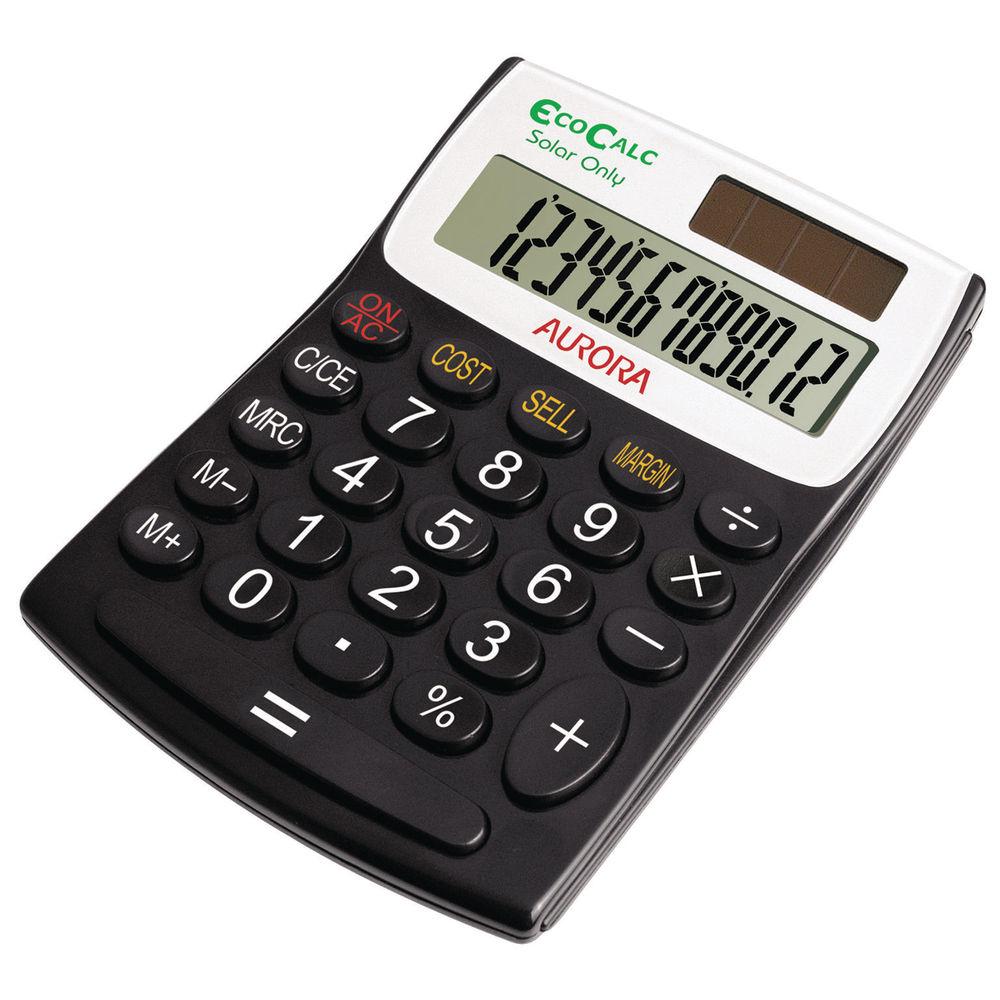 Aurora Black White 12 Digit Semi Desk Calculator EC404