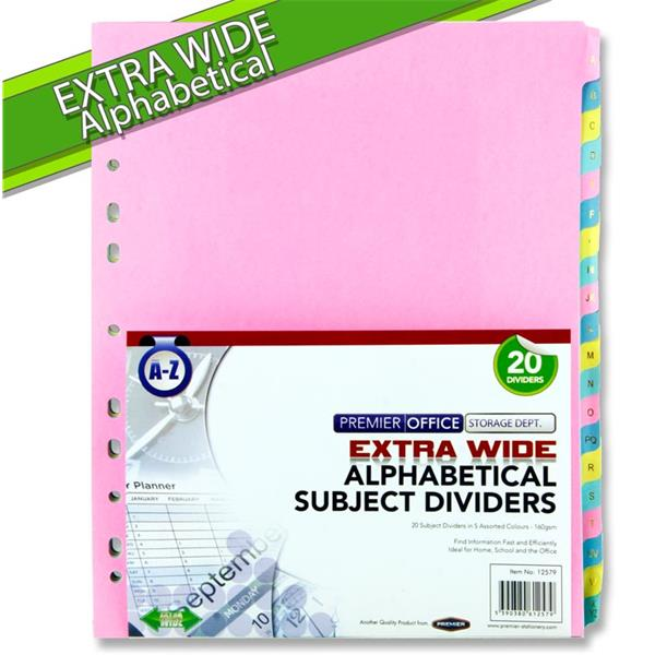 PREMIER OFFICE EXTRA WIDE A Z SUBJECT DIVIDERS 20 PART
