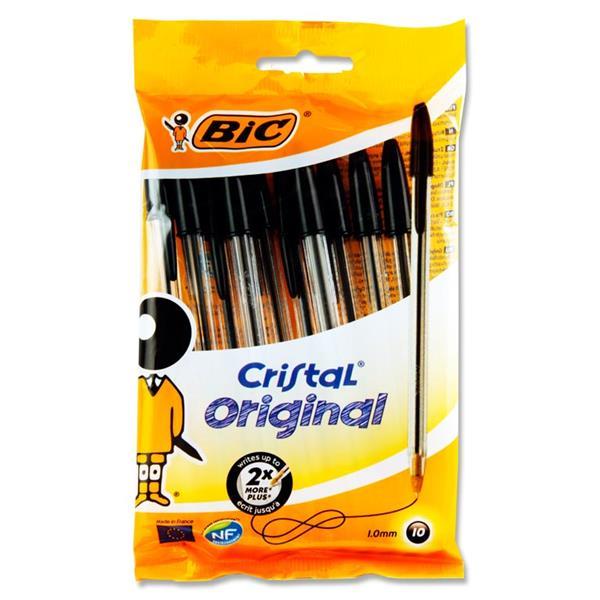 Bic 10 Pack Cristal Ballpoint Pens Black