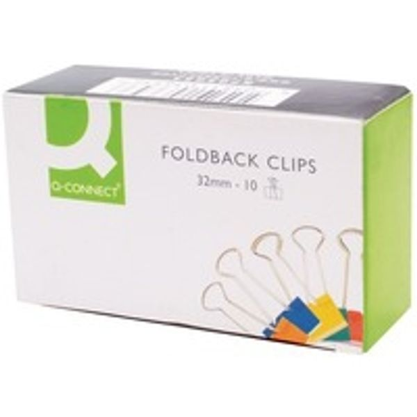 Q-Connect Foldback Clip 32mm Assorted 10 Pack