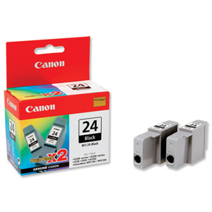 Canon 24BK Black Ink Tank Twin Pack - Canon BCI-24BK Black