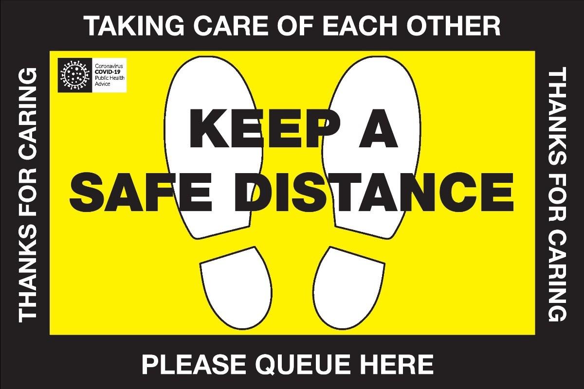 Queue here Safe Distance Floor vinyl signs 450mm x 300mm 10PK