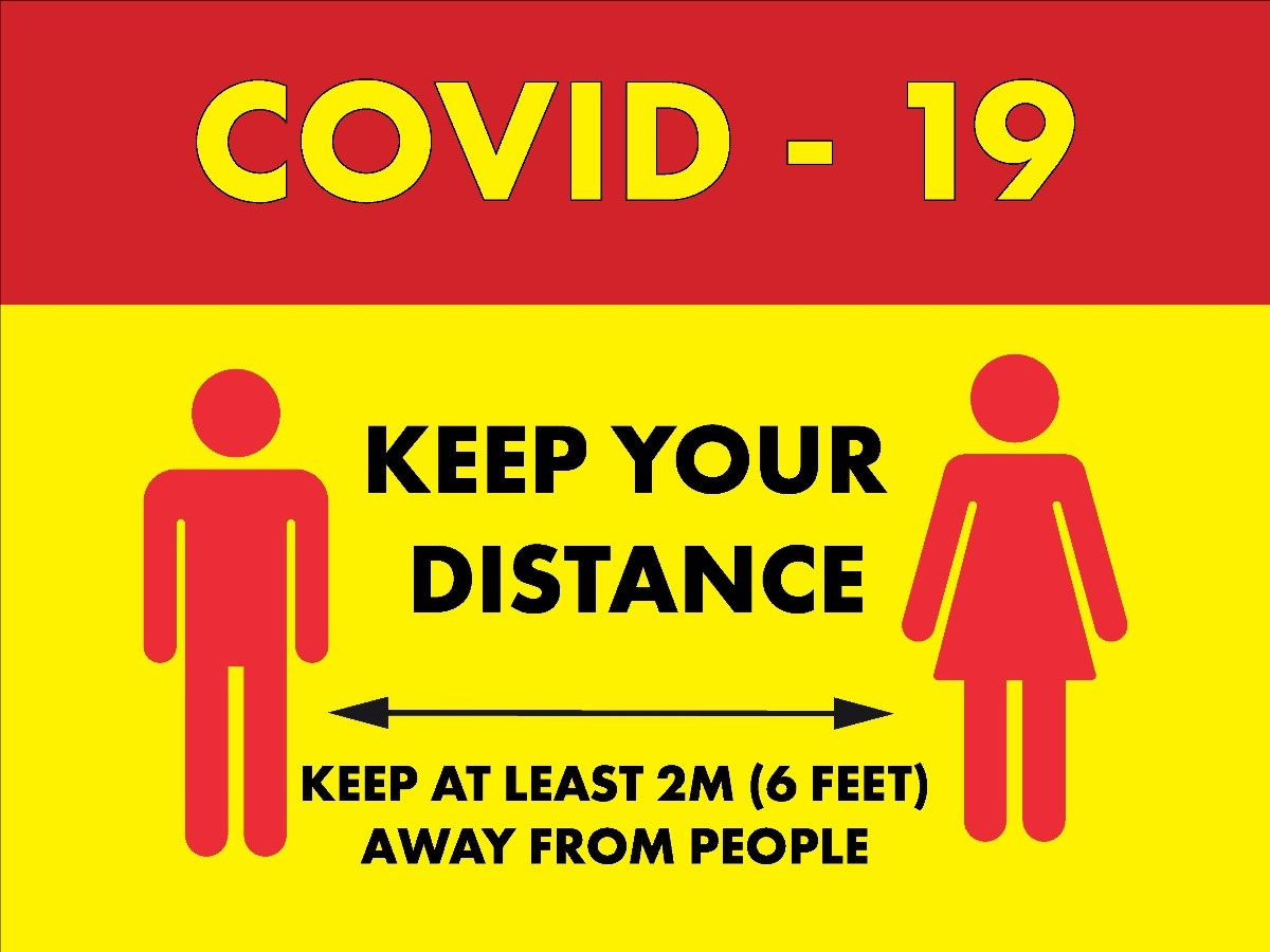 Keep Your Distance Hanging Sign