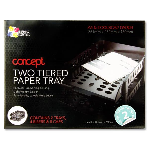 CONCEPT 2 TIERED A4 FC PAPER AND LETTER TRAY  BLACK