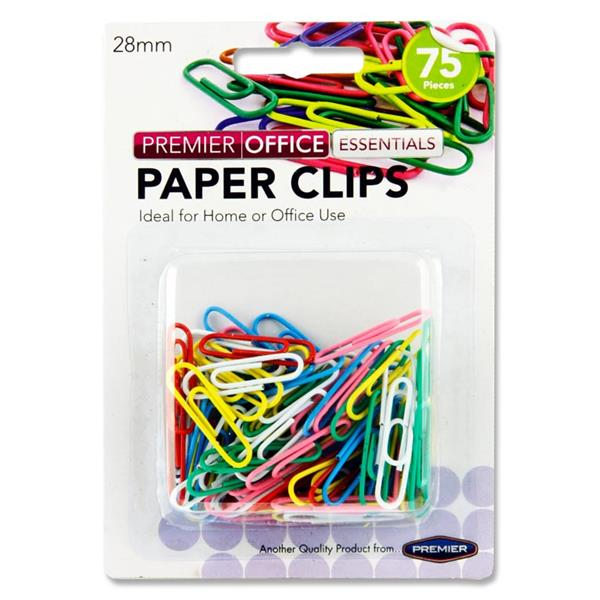 PREMIER OFFICE CARD 75 28mm COLOURED PAPER CLIPS