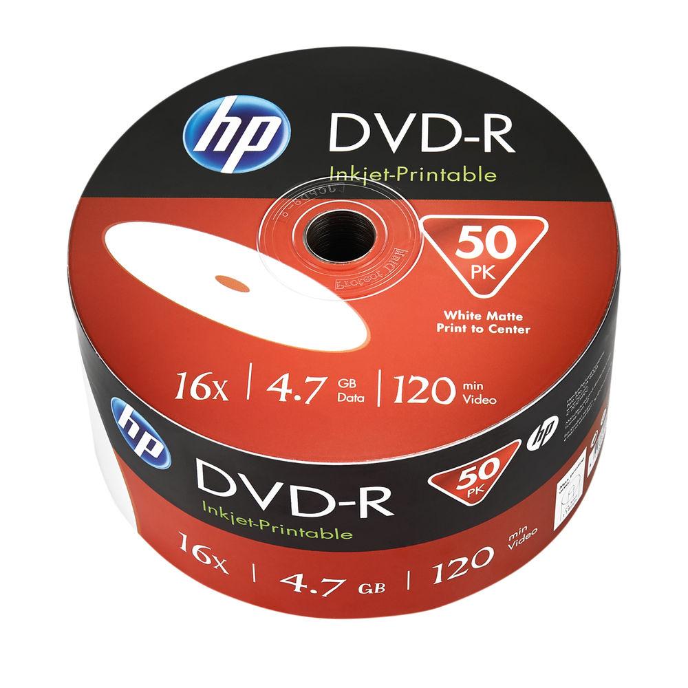 HP DVD-R Inkjet Print 16X 4Point7GB Wrap 50 Pack