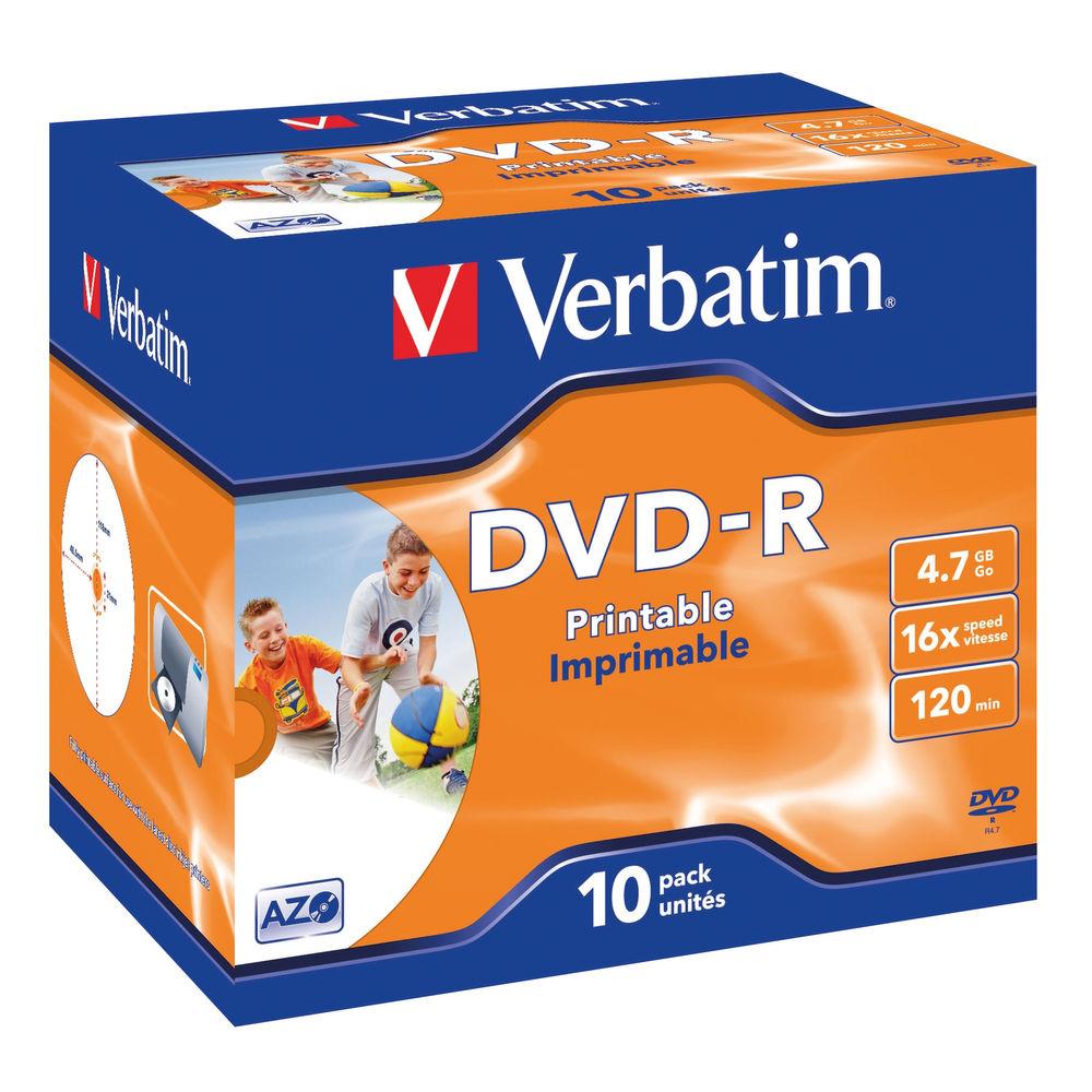 Verbatim DVD-R Speed Jewel Case 4x 4 7GB Pack of 10