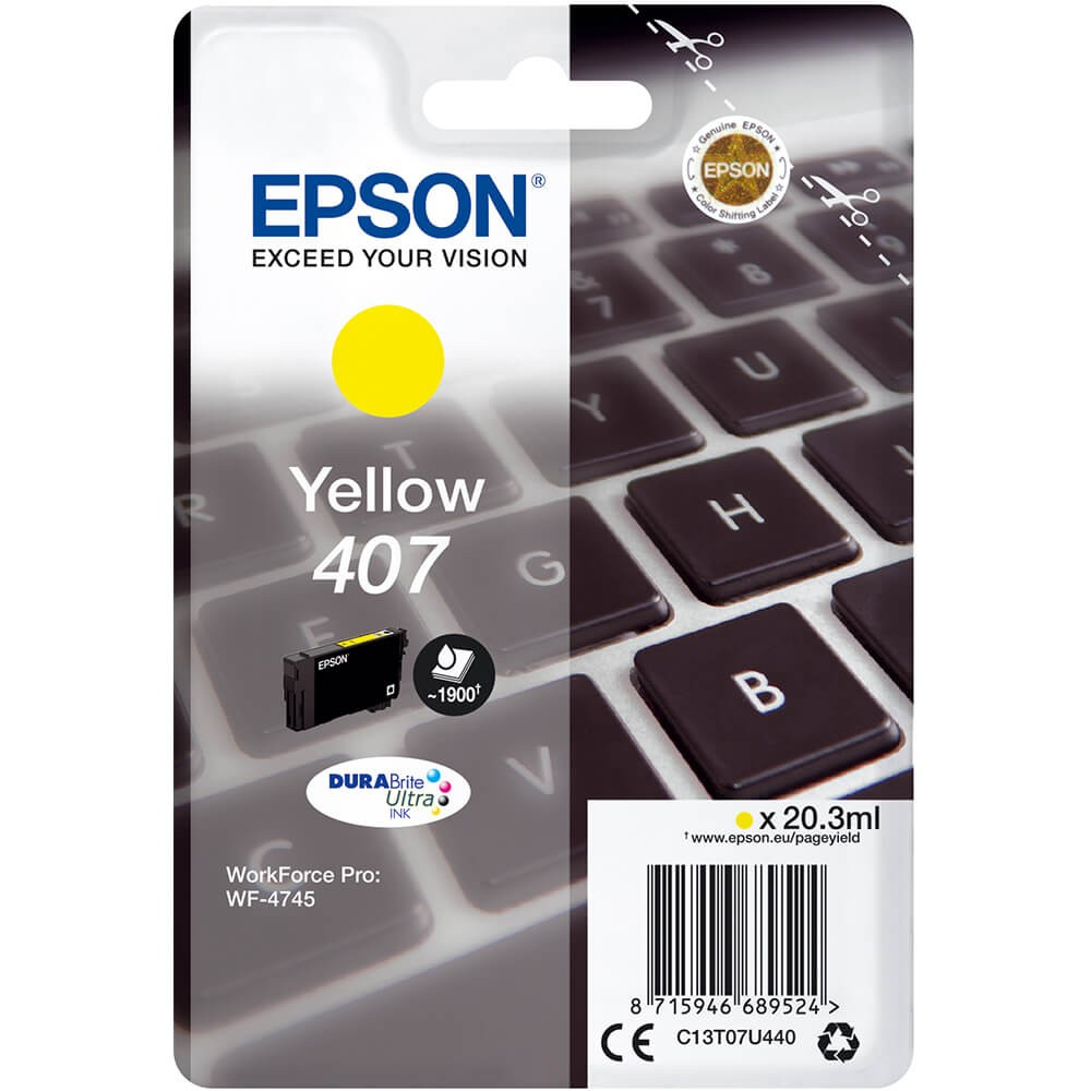 Epson 407 Yellow Ink Cartridge Original