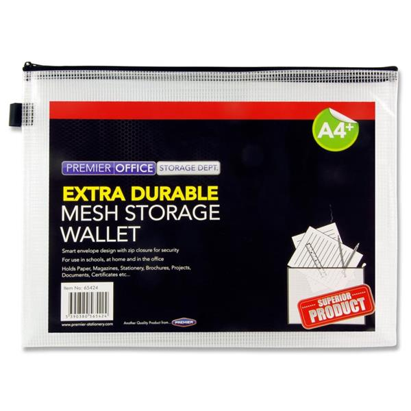 PREMIER OFFICE A4 EXTRA DURABLE MESH STORAGE WALLET