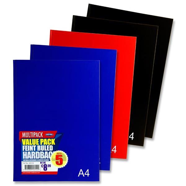 Premier Pkt 5 A4 160pg Hardcover Notebook 3 Asst Bold