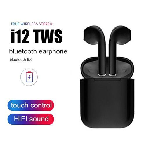 I12 TWS Universal Bluetooth Earbuds With Charging Dock Black
