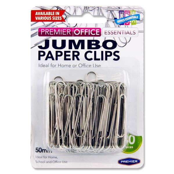 PREMIER OFFICE CARD 80 50mm JUMBO PAPER CLIPS