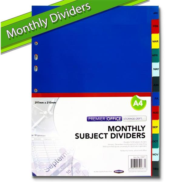 PREMIER OFFICE MONTHLY SUBJECT DIVIDERS 12 PART