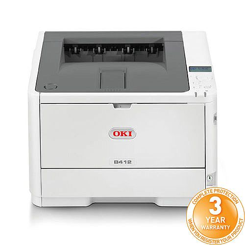 OKI B412dn A4 Mono Laser Printer Networked Duplex