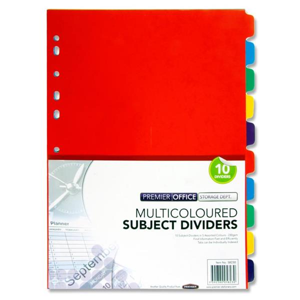 PREMIER OFFICE 250gsm SUBJECT DIVIDERS  10 PART