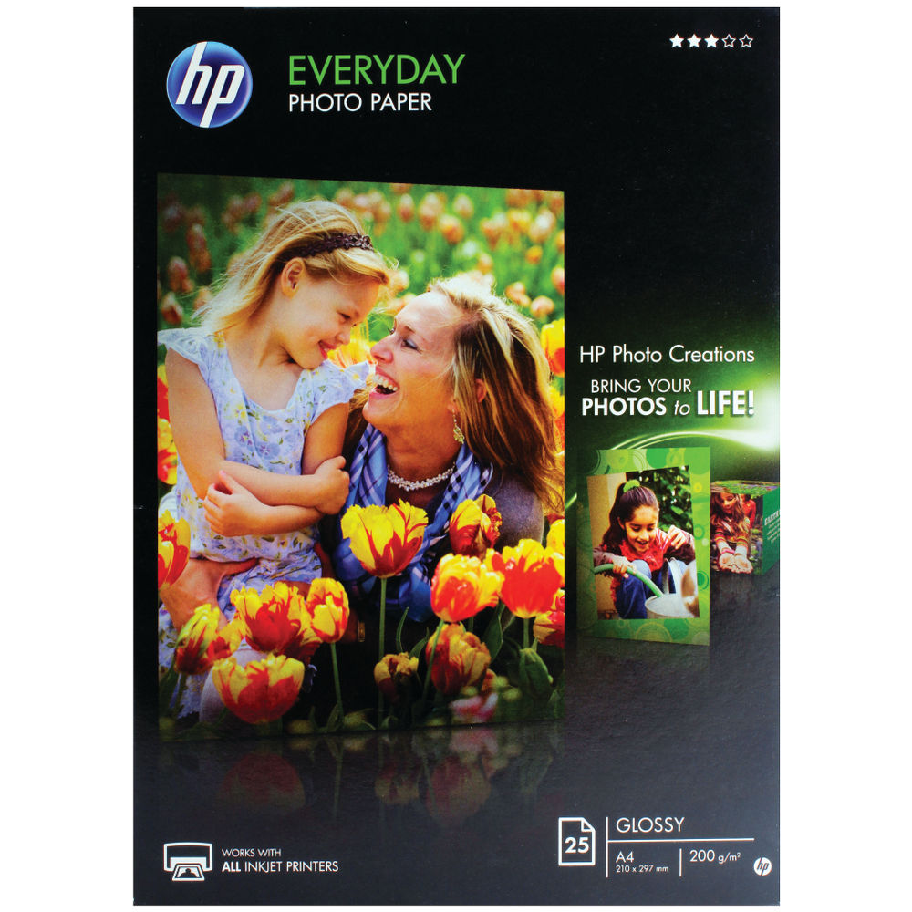 HP A4 White Everyday Glossy Photo Paper 200gsm Pack of 25 Q5451A