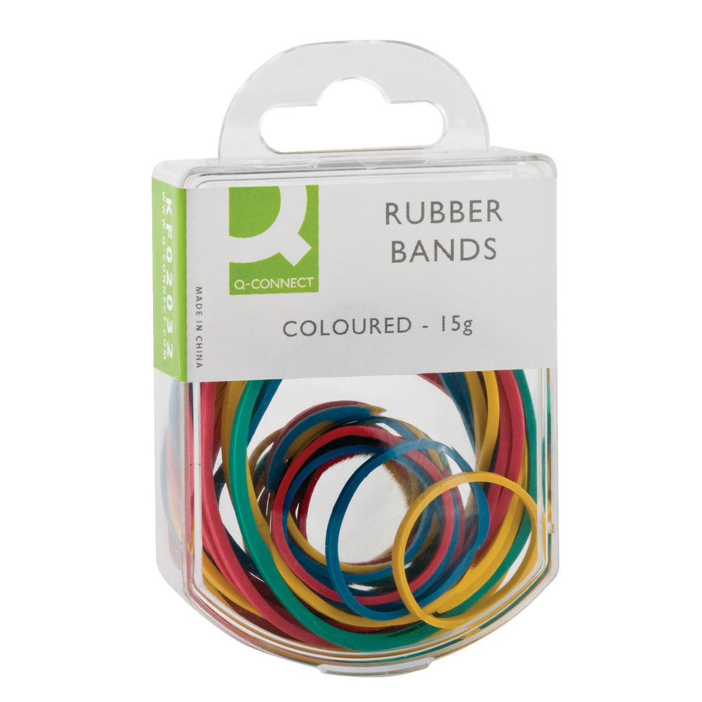 Q-Connect Rubber Bands Assorted Sizes Coloured 15g Pack of 10